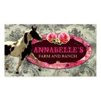 Gris del vintage del rancho el | del caballo de la plantilla de tarjeta de negocio