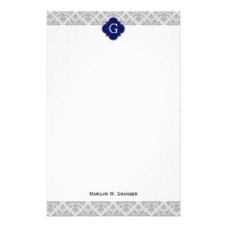 Gris del vintage en monograma gris del damasco #3 papelería personalizada