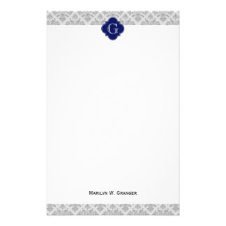 Gris del vintage en monograma gris del damasco #3  papeleria de diseño