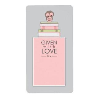 Gris dulce del rosa el | de la etiqueta del nombre etiquetas de envío