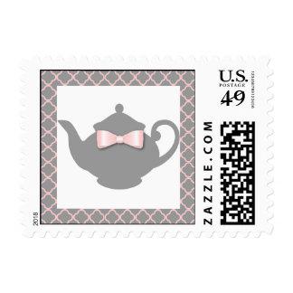 Gris dulce + Sello rosado de la fiesta del té de l