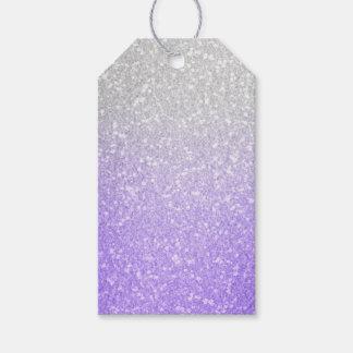 Gris e imagen púrpura del brillo etiquetas para regalos