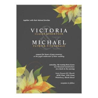 Gris e invitaciones florales amarillas del boda de invitacion personalizada