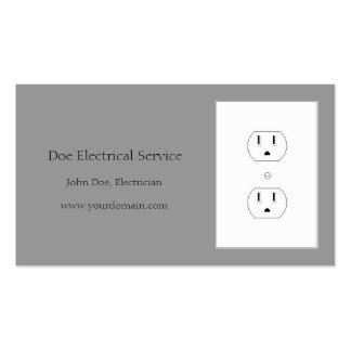 Gris eléctrico del contratista del electricista tarjetas de visita