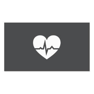 Gris elegante del cardiólogo del corazón moderno tarjetas de visita