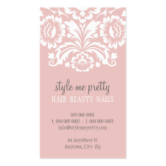 Gris elegante elegante del rosa del damasco de la tarjetas de visita