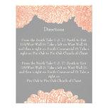 Gris floral y melocotón del crisantemo del vintage
