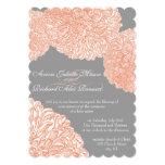 Gris floral y melocotón del crisantemo del vintage invitacion personal