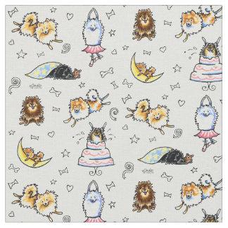 Gris fresco juguetón de Pomeranians Telas