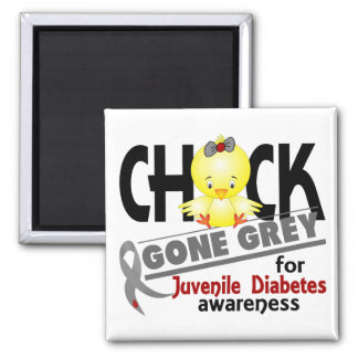 Gris ido polluelo 2 de la diabetes juvenil imán cuadrado
