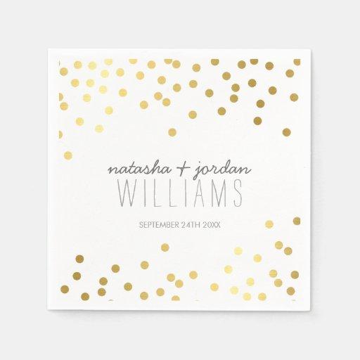 Gris lindo del oro de puntos del confeti de la servilleta desechable