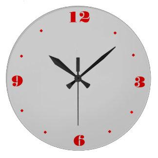 Gris llano y rojo > relojes de pared