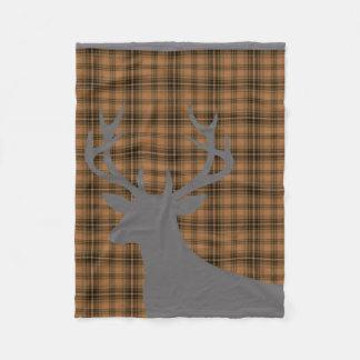 Gris marrón de la tela escocesa el   de la silueta manta de forro polar