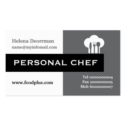 Gris minimalista del cocinero personal, blanco, ne tarjetas de visita