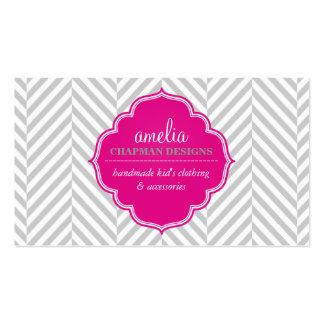Gris moderno de la insignia del rosa del modelo de tarjetas de visita