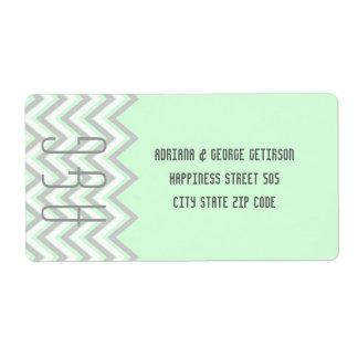 Gris moderno del galón, boda de la verde menta etiquetas de envío