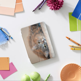 Gris, moreno, gato de pelo largo blanco de Shirley Cubierta De iPad Mini