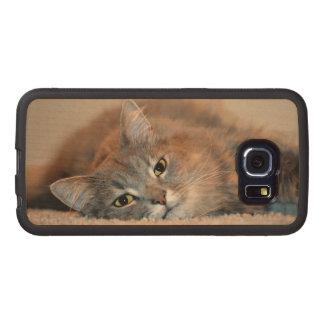 Gris, moreno, gato de pelo largo blanco de Shirley Funda De Madera Para Samsung Galaxy S6 Edge