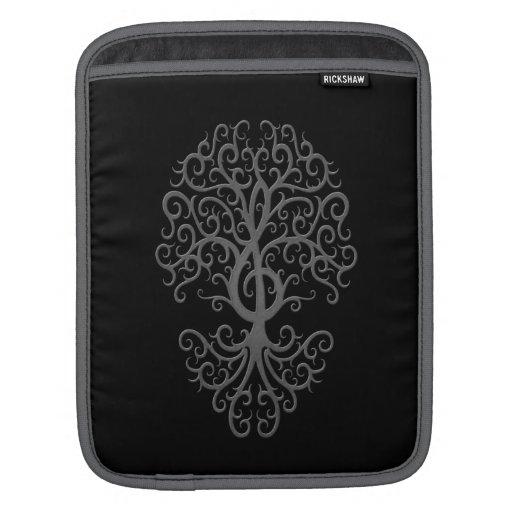 Gris musical del árbol del Clef agudo en negro Fundas Para iPads