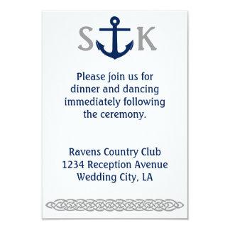 Gris náutico del recinto de la invitación del boda invitación 8,9 x 12,7 cm