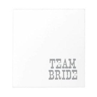 Gris occidental de la novia del equipo bloc de papel