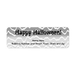 Gris ondulado del diseño de Halloween, blanco y ne Etiquetas De Remite