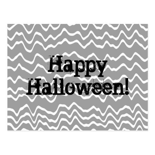 Gris ondulado del diseño de Halloween, blanco y Postal
