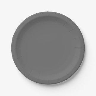 Gris oscuro placa de papel de 7 pulgadas plato de papel de 7 pulgadas
