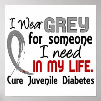 Gris para alguien necesito la diabetes juvenil póster