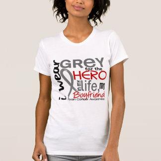 Gris para mi cáncer de cerebro del novio del héroe camisetas