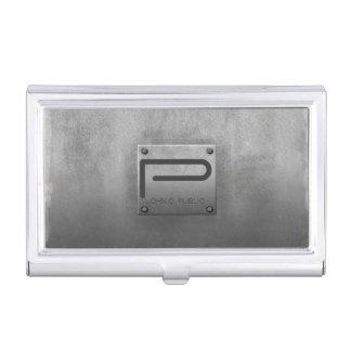 Gris plateado de metal áspero cajas de tarjetas de negocios