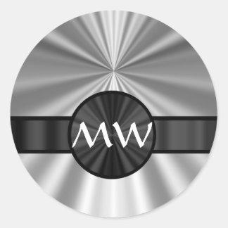 Gris plateados cones monograma pegatina redonda