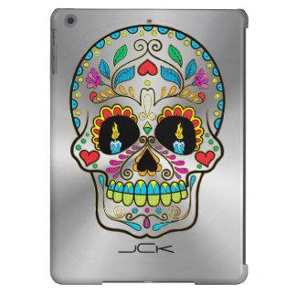 Gris plateados metálicos brillantes y cráneo funda para iPad air