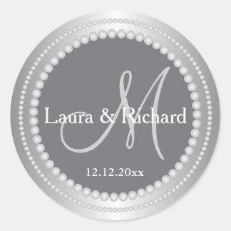 Gris plateados personalizados casando los sellos pegatina redonda