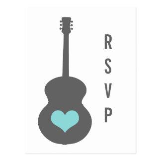 Gris/postal de RSVP del corazón de la guitarra de