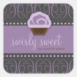 Gris púrpura dulce de 311 Swirly Pegatina Cuadrada