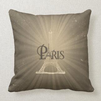 Gris retro de París de la torre Eiffel del estilo Cojines