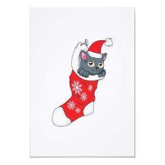 """Gris rojo de la media del gato gris del gatito de invitación 3.5"""" x 5"""""""
