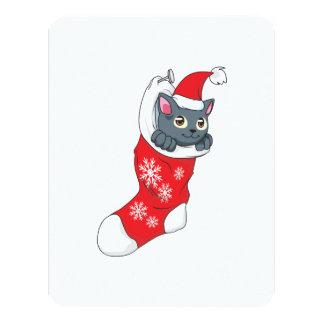 """Gris rojo de la media del gato gris del gatito de invitación 4.25"""" x 5.5"""""""