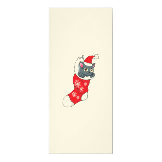 """Gris rojo de la media del gato gris del gatito de invitación 4"""" x 9.25"""""""
