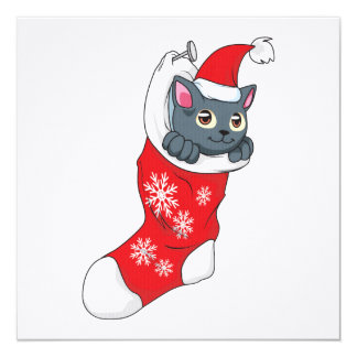 """Gris rojo de la media del gato gris del gatito de invitación 5.25"""" x 5.25"""""""