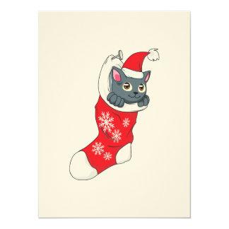 """Gris rojo de la media del gato gris del gatito de invitación 5.5"""" x 7.5"""""""