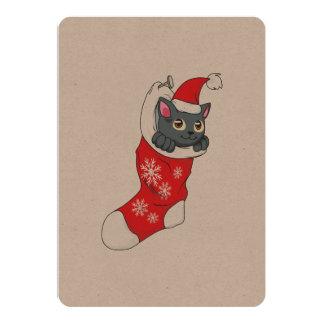 """Gris rojo de la media del gato gris del gatito de invitación 5"""" x 7"""""""