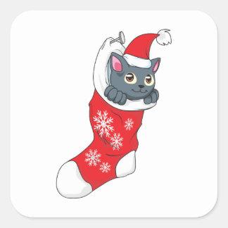 Gris rojo de la media del gato gris del gatito de colcomanias cuadradas personalizadas