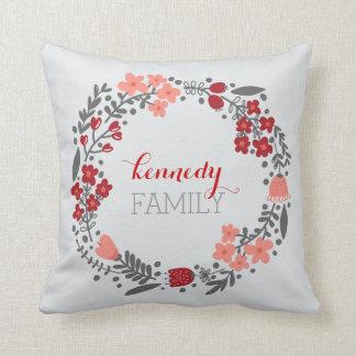 Gris rojo personalizado guirnalda floral del almohadas