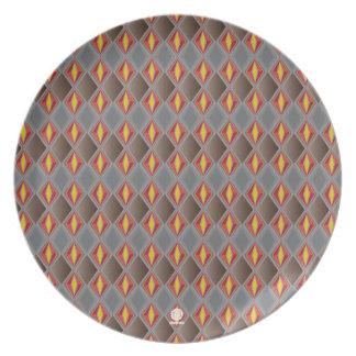 Gris rojo retros originales del diseño del diamant plato de comida