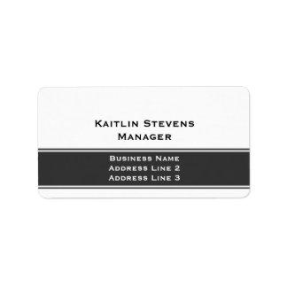 Gris simple llano profesional y blanco elegantes etiquetas de dirección