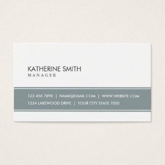 Gris simple llano profesional y blanco elegantes tarjeta de negocios
