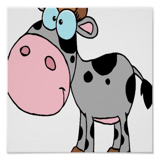 gris tonto lindo del becerro de la vaca del bebé d póster