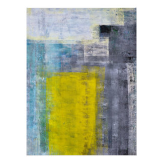 Gris, trullo y poster amarillo del arte abstracto
